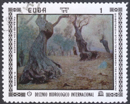 postmail: MOSCOW, RUSSIA - CIRCA FEBRUARY, 2016: a post stamp printed in CUBA shows painting by D. Ramoz, the series International Hydrological Decade, circa 1972 Editorial