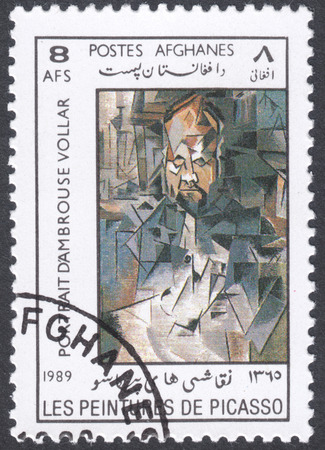 pablo picasso: MOSCOW, RUSSIA - CIRCA FEBRUARY, 2016: a post stamp printed in AFGHANISTAN shows painting Portrait of Ambroise Vollard  by Picasso, the series Paintings by Pablo Picasso, circa 1989 Editorial