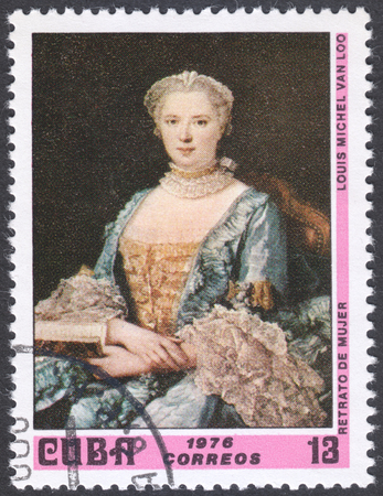 loo: MOSCOW, RUSSIA - CIRCA FEBRUARY, 2016: a post stamp printed in CUBA shows painting Portrait of a Lady by Louis Michel Van Loo, the series National Museum Paintings, circa 1976