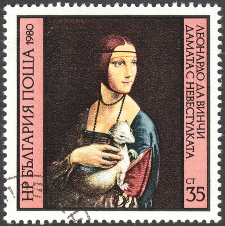 gronostaj: MOSCOW, RUSSIA - CIRCA FEBRUARY, 2016: a post stamp printed in BULGARIA shows painting Lady with the Ermine by Leonardo da Vinci, the series Leonardo Da Vinci`s Paintings, circa 1980