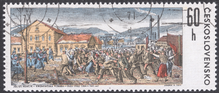 revolt: MOSCOW, RUSSIA - CIRCA FEBRUARY, 2016: a post stamp printed in CZECHOSLOVAKIA shows painting The Krompachy Revolt by J. Nemcik, the 50th Anniversary of The Krompachy Revolt, circa 1971