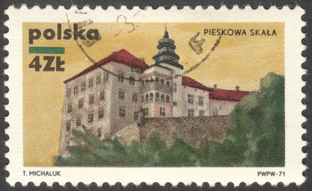 skala: MOSCOW, RUSSIA - CIRCA FEBRUARY, 2016: a post stamp printed in POLAND shows a castle Pieskowa Skala, the series Polish castles, circa 1971