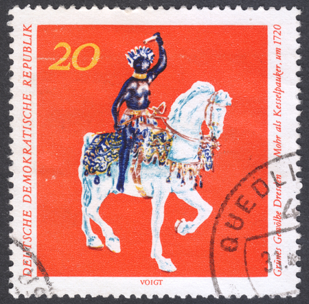 MOSCOW, RUSSIA - CIRCA FEBRUARY, 2016: a post stamp printed in DDR shows a horse statue, the series Treasures fron the Green Vault Dresden, circa 1971