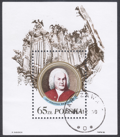 melodist: MOSCOW, RUSSIA - CIRCA FEBRUARY, 2016: a post stamp printed in POLAND shows a portrait of Johann Sebastian Bach, devoted to The 300th Anniversary of the Birth of Johann Sebastian Bach, circa 1985