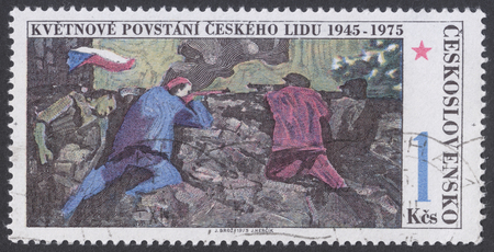 insurrection: MOSCOW, RUSSIA - CIRCA FEBRUARY, 2016: a post stamp printed in CZECHOSLOVAKIA devoted to the 30th Anniversary of Czech Rising, circa 1975 Editorial
