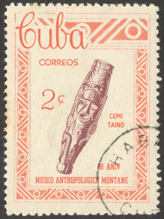 anthropological: MOSCOW, RUSSIA - CIRCA FEBRUARY, 2016: a post stamp printed in CUBA shows an archaeological artifact, the series The 60th Anniversary of The Montane Anthropological Museum, circa 1963 Editorial