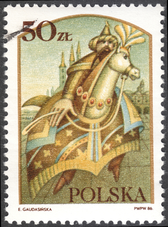 legends: MOSCOW, RUSSIA - CIRCA FEBRUARY, 2016: a post stamp printed in POLAND shows Lajkonik, the series Polish legends, circa 1986