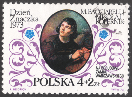 copernicus: MOSCOW, RUSSIA - CIRCA FEBRUARY, 2016: a post stamp printed in POLAND shows a portrait of Nicolaus Copernicus by Bacciarelli, devoted to the day of the stamp 1973, circa 1973 Editorial