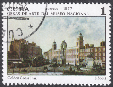 samuel: MOSCOW, RUSSIA - CIRCA FEBRUARY, 2016: a post stamp printed in CUBA shows a painting Golden Cross Inn by Samuel Scott, the series National Museum Paintings, circa 1977 Editorial