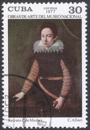 medici: MOSCOW, RUSSIA - CIRCA FEBRUARY, 2016: a post stamp printed in CUBA shows a painting Portrait of a F. de Medici by C. Allori, the series National Museum Paintings, circa 1977