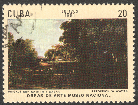 frederick street: MOSCOW, RUSSIA - CIRCA FEBRUARY, 2016: a post stamp printed in CUBA shows a painting Scenery with a road and houses by Frederick Watts, the series The National Museum - Paintings, circa 1981 Editorial