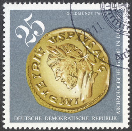 findings: MOSCOW, RUSSIA - CIRCA FEBRUARY, 2016: a stamp printed in DDR shows an archaeological artifact, the series Archaeological Findings, circa 1976