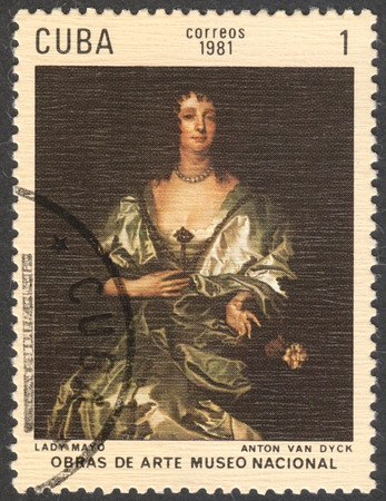 durer: MOSCOW, RUSSIA - CIRCA FEBRUARY, 2016: a post stamp printed in CUBA shows a painting Lady Mayo by Anton van Dyck, the series The National Museum - Paintings, circa 1981