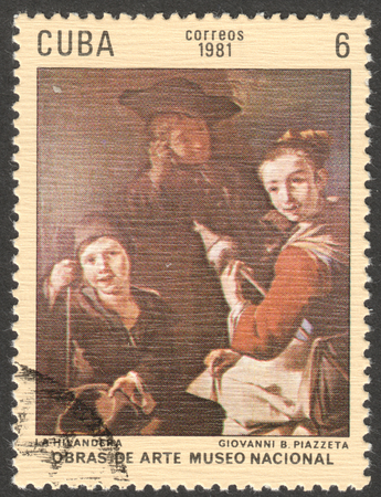 spinner: MOSCOW, RUSSIA - CIRCA FEBRUARY, 2016: a post stamp printed in CUBA shows a painting Spinner by B. Piazzeta, the series The National Museum - Paintings, circa 1981 Editorial