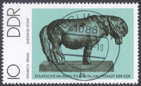 shetland pony: MOSCOW, RUSSIA - CIRCA MAY, 2016: a post stamp printed in DDR shows a sculpture Shetland pony by H. Drake, the series Small Plastics, circa 1976
