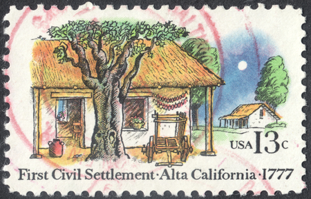 settler: MOSCOW, RUSSIA - CIRCA APRIL, 2016: a post stamp printed in the USA shows the first civil settlement - Alta, California, circa 1977