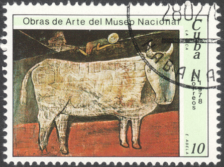 eduardo: MOSCOW, RUSSIA - CIRCA FEBRUARY, 2016: a post stamp printed in CUBA shows a painting The cow by Eduardo Abela, the series The National Museum Paintings, circa 1978