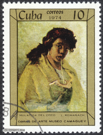 MOSCOW, RUSSIA - CIRCA APRIL, 2016: a post stamp printed in CUBA shows a painting Mulatto Woman with Coconut by Leopoldo Romanach, the series Paintings in Camaguey Museum, circa 1974 Editorial