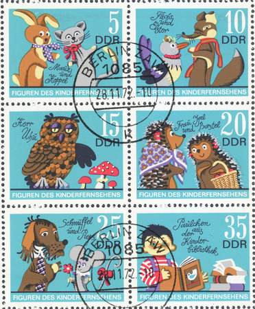 MOSCOW, RUSSIA - CIRCA FEBRUARY, 2016: a post stamp printed in DDR shows scenes from the cartoons, the series Cartoons, circa 1972