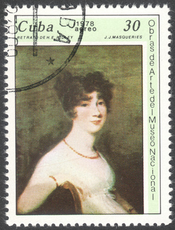sorolla: MOSCOW, RUSSIA - CIRCA FEBRUARY, 2016: a post stamp printed in CUBA shows a painting The portrait of H.E. Ridley by J.J.Masoueries, the series The National Museum Paintings, circa 1978 Editorial