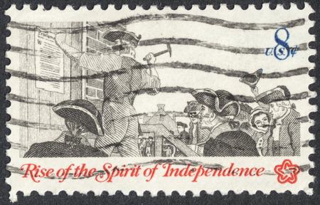 broadside: MOSCOW, RUSSIA - CIRCA APRIL, 2016: a post stamp printed in the USA shows posting a broadside, the series Rise of the Spirit of Independence, circa 1973