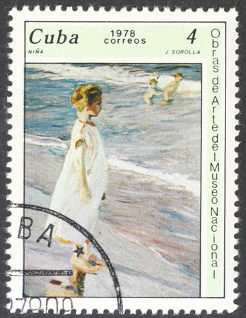 sorolla: MOSCOW, RUSSIA - CIRCA FEBRUARY, 2016: a post stamp printed in CUBA shows a painting Girl Nina by J. Sorolla, the series The National Museum Paintings, circa 1978