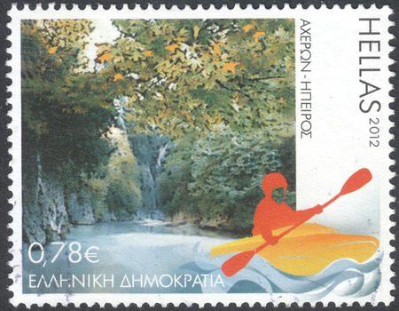 MOSCOW, RUSSIA - CIRCA APRIL, 2016: a post stamp printed in GREECE shows the river Acheron, the series Tourism - Touring Greece, circa 2012