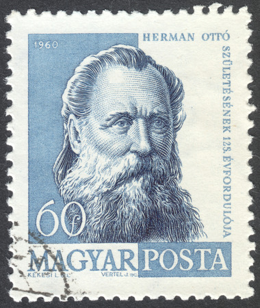 herman: MOSCOW, RUSSIA - CIRCA APRIL, 2016: a post stamp printed in HUNGARY shows a portrait of Otto Herman, circa 1960