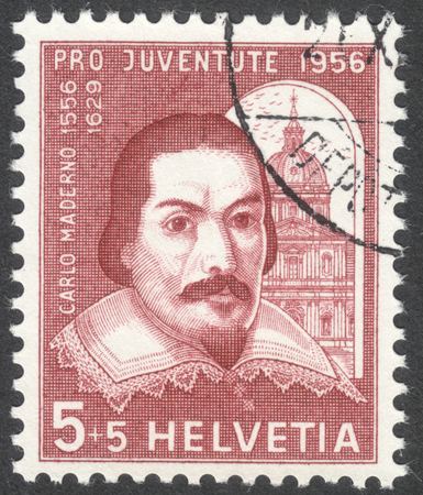 maderno: MOSCOW, RUSSIA - CIRCA MAY, 2016: a post stamp printed in SWITZERLAND  shows a portrait of Carlo Maderno, the series Pro Juventute, circa 1956
