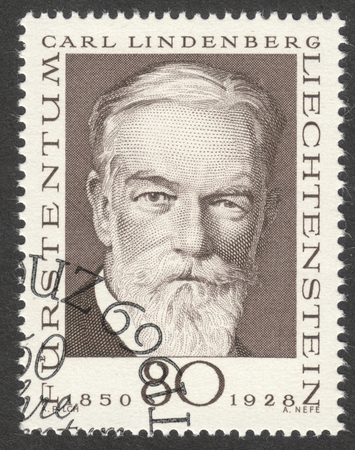 philately: MOSCOW, RUSSIA - CIRCA APRIL, 2016: a post stamp printed in LIECHTENSTEIN shows a portrait of Carl Lindenberg, the series Philately Pioneers, circa 1969
