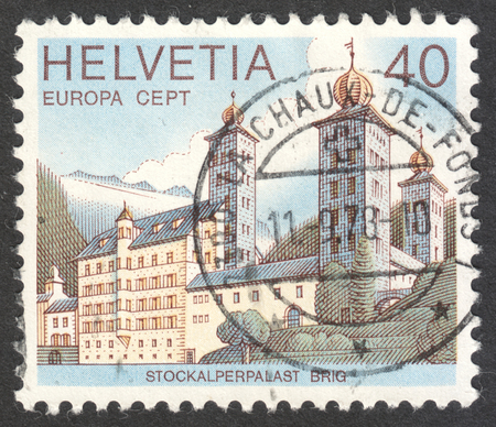 brig: MOSCOW, RUSSIA - CIRCA MAY, 2016: a post stamp printed in SWITZERLAND  shows the Stockalber Palace, Brig, the series Europa, circa 1978