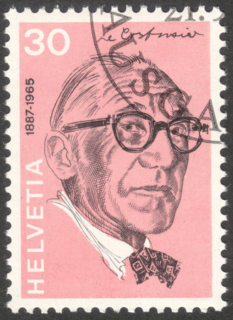 helvetia: MOSCOW, RUSSIA - CIRCA APRIL, 2016: a post stamp printed in SWITZERLAND shows a portrait of Charles Edouard Jeanneret Gris, the series Portraits and Signatures, circa 1972