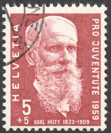 karl: MOSCOW, RUSSIA - CIRCA MAY, 2016: a post stamp printed in SWITZERLAND  shows a portrait of Karl Hilty, the series Pro Juventute, circa 1959 Editorial