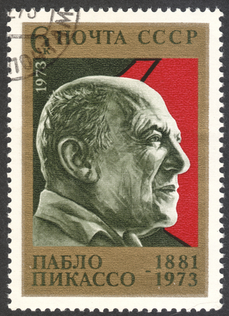 MOSCOW, RUSSIA - CIRCA MAY, 2016: a post stamp printed in the USSR shows a portrait of Pablo Picasso, circa 1973 Editorial