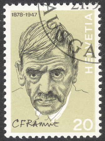 ferdinand: MOSCOW, RUSSIA - CIRCA APRIL, 2016: a post stamp printed in SWITZERLAND shows a portrait of Charles Ferdinand Ramuz, the series Portraits and Signatures, circa 1972 Editorial