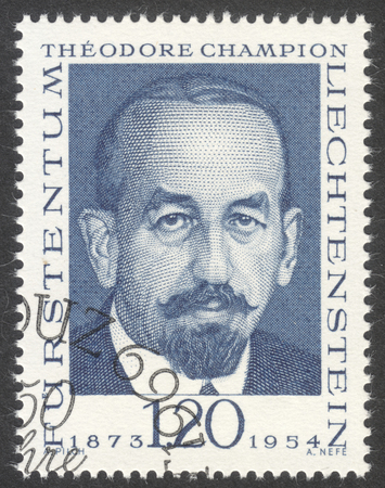 philately: MOSCOW, RUSSIA - CIRCA APRIL, 2016: a post stamp printed in LIECHTENSTEIN shows a portrait of Theodore Champion, the series Philately Pioneers, circa 1969