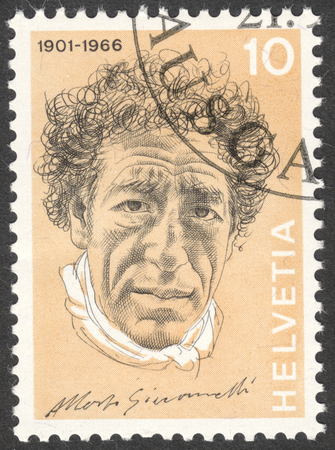 alberto: MOSCOW, RUSSIA - CIRCA APRIL, 2016: a post stamp printed in SWITZERLAND shows a portrait of Alberto Giacometti, the series Portraits and Signatures, circa 1972