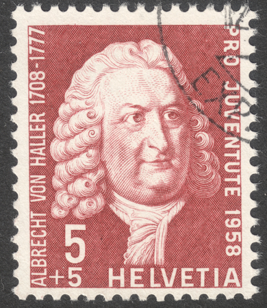 estampilla: MOSCOW, RUSSIA - CIRCA MAY, 2016: a post stamp printed in SWITZERLAND  shows a portrait of Albrecht von Haller, the series Pro Juventute, circa 1958 Editorial