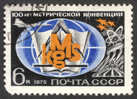 metre: MOSCOW, RUSSIA - CIRCA APRIL, 2016: a post stamp printed in the USSR, dedicated to the 100th Anniversary of International Metre Convention, circa 1977
