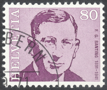 physiologist: MOSCOW, RUSSIA - CIRCA APRIL, 2016: a post stamp printed in SWITZERLAND  shows a portrait of Frederick Banting, the series Doctors, circa 1971 Editorial