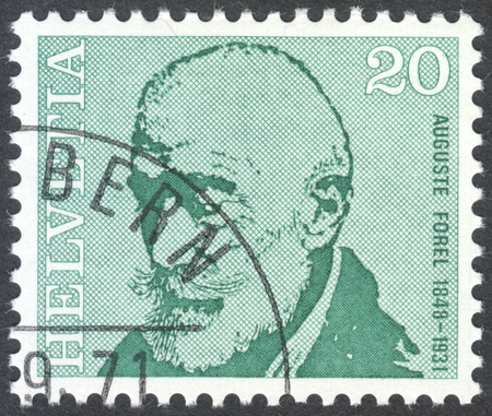 savant: MOSCOW, RUSSIA - CIRCA APRIL, 2016: a post stamp printed in SWITZERLAND  shows a portrait of Auguste Forel, the series Doctors, circa 1971 Editorial