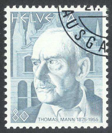 mann: MOSCOW, RUSSIA - CIRCA APRIL, 2016: a post stamp printed in SWITZERLAND shows a portrait of Thomas Mann, the series Portraits, circa 1979