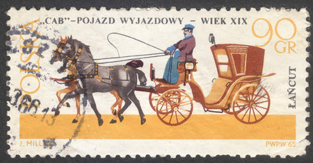 the coachman: MOSCOW, RUSSIA - CIRCA MAY, 2016: a post stamp printed in POLAND shows a Cab coach, the series Horse-drawn Carriages, Lancut Museum, circa 1965