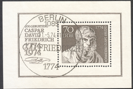 caspar: MOSCOW, RUSSIA - CIRCA MAY, 2016: a post stamp printed in DDR dedicated to the 200th Anniversary of the Birth of Caspar David Friedrich, circa 1974 Editorial