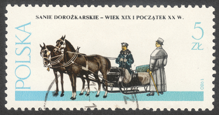 MOSCOW, RUSSIA - CIRCA MAY, 2016: a post stamp printed in POLAND shows a Sled coach, the series Horse-drawn Vehicles, circa 1980 Editorial