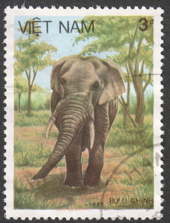 indian postal stamp: MOSCOW, RUSSIA - CIRCA MAY, 2016: a post stamp printed in VIETNAM shows an Asiatic elephant, the series Elephants, circa 1987