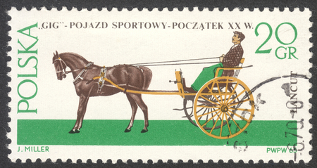 philatelist: MOSCOW, RUSSIA - CIRCA MAY, 2016: a post stamp printed in POLAND shows a Gig coach, the series Horse-drawn Carriages, Lancut Museum, circa 1965