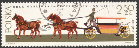 MOSCOW, RUSSIA - CIRCA MAY, 2016: a post stamp printed in POLAND shows a Hunting break coach, the series Horse-drawn Carriages, Lancut Museum, circa 1965