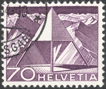 helvetia: MOSCOW, RUSSIA - CIRCA MAY, 2016: a post stamp printed in SWITZERLAND shows Triangulation Point, the series Engineering, circa 1949 Editorial