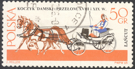 MOSCOW, RUSSIA - CIRCA MAY, 2016: a post stamp printed in POLAND shows a Ladys basket coach, the series Horse-drawn Carriages, Lancut Museum, circa 1965 Editorial